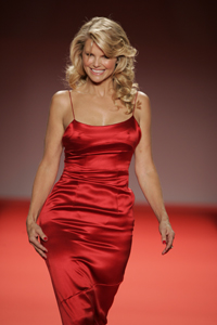 Christie Brinkley in red dress. For the Nation...