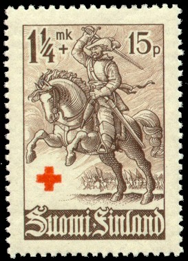Postage stamp depicting a Finnish Hakkapeliitt...