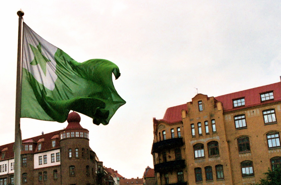 The traditional Esperanto flag flying outside ...