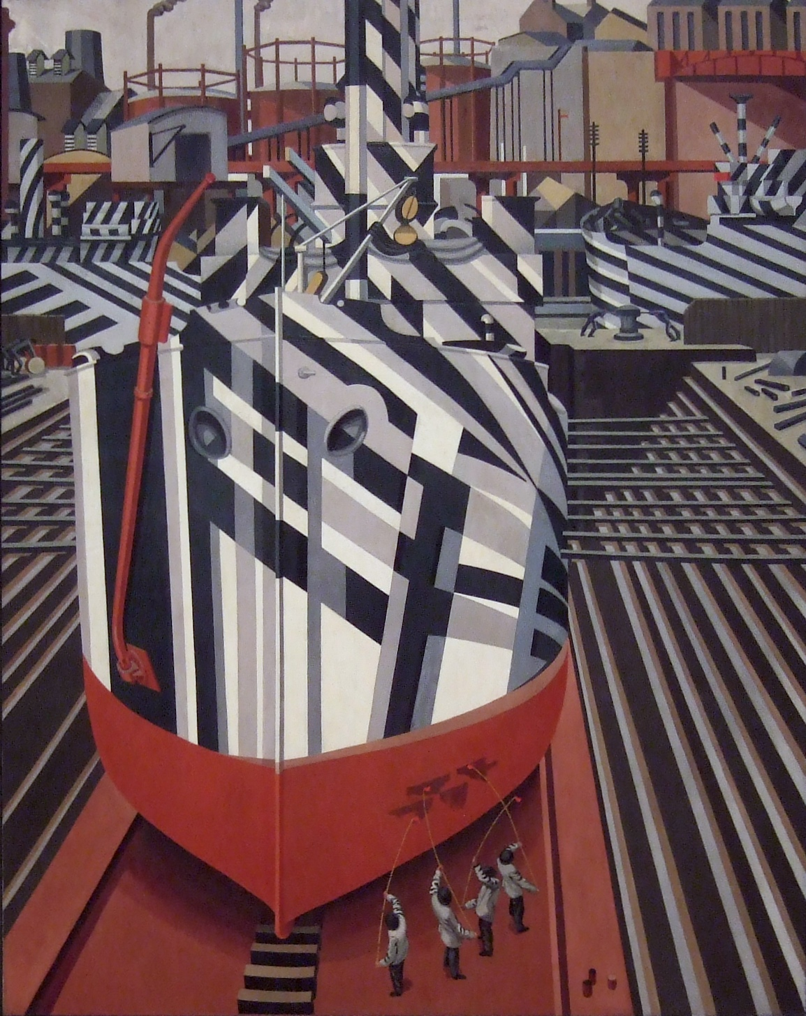 Dazzle-ships in Drydock at Liverpool, 1919.