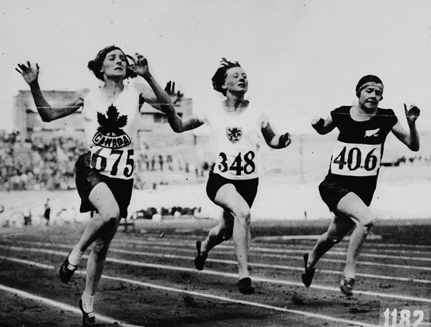 File:Myrtle Cook of Canada (left) winning a preliminary heat in the womens 100 metres race at the VIIIth Summer Olympic Games.jpg