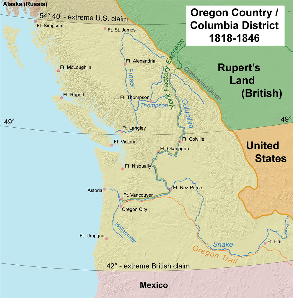The Oregon Country as claimed by the United St...