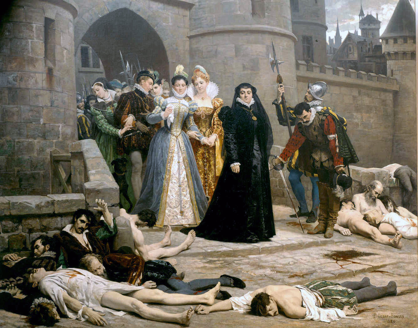 One morning at the gates of the Louvre, 19th-century painting by Édouard Debat-Ponsan(1847-1913). Catherine de' Medici is in black.