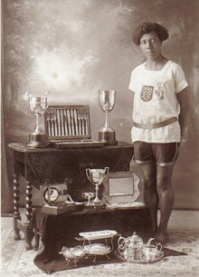 English: Ethel with her trophies: August 1929