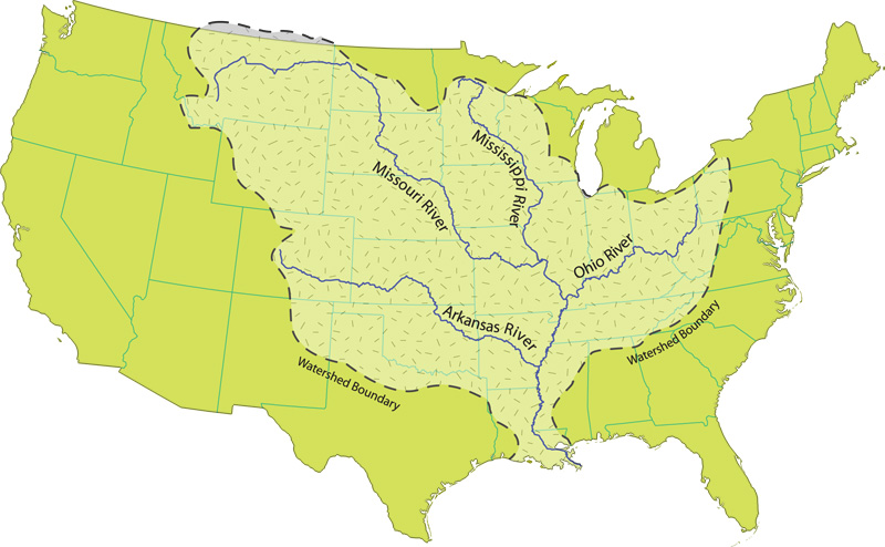 It is a significant transportation artery and when combined with its. File Mississippi River Watershed Map Jpg Wikimedia Commons