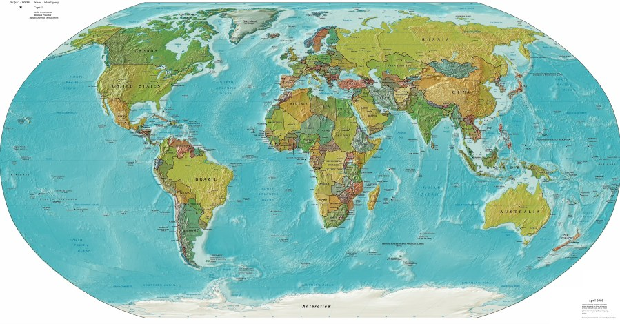 Atlas of the world   Wikimedia Commons Worldmap LandAndPolitical jpg  Political and physical map
