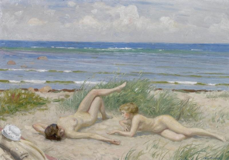 Paul Fischer - Piger på stranden, Båstad.jpg