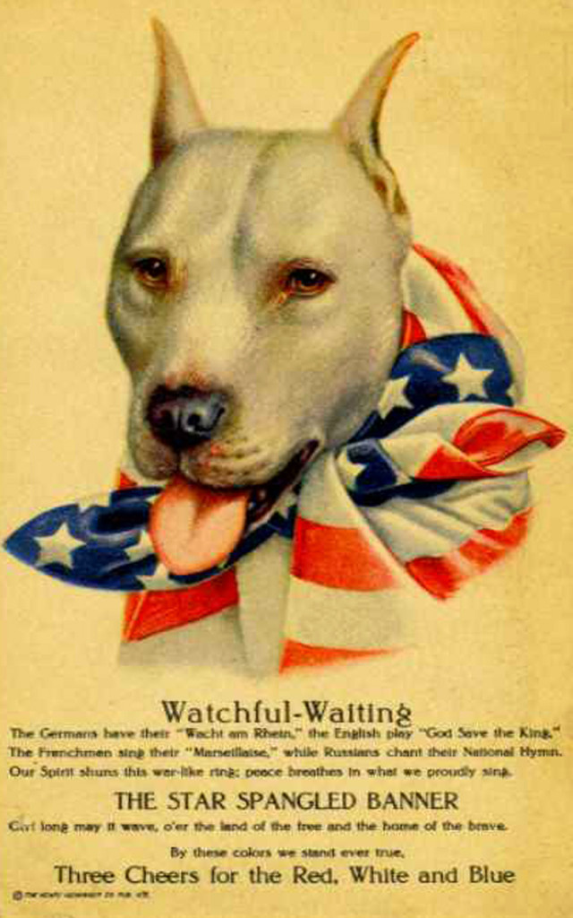 English: WW1 poster featuring a pit bull as re...