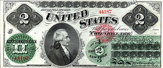 First $2 bill issued in 1862 as a Legal Tender...