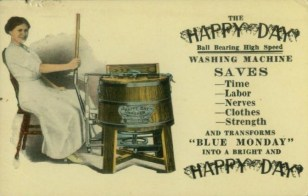 Happy Days Washing Machine Postcard (1910)