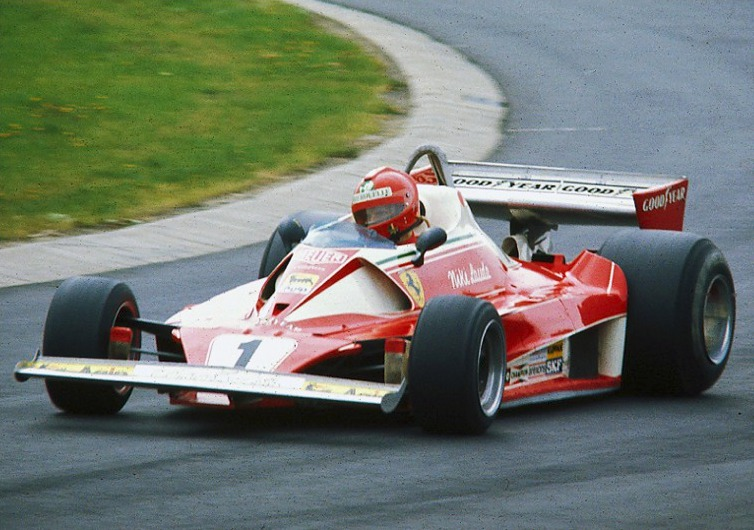Niki Lauda practicing at the Nürburgring durin...