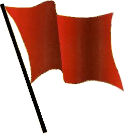 Red flag waving transparent