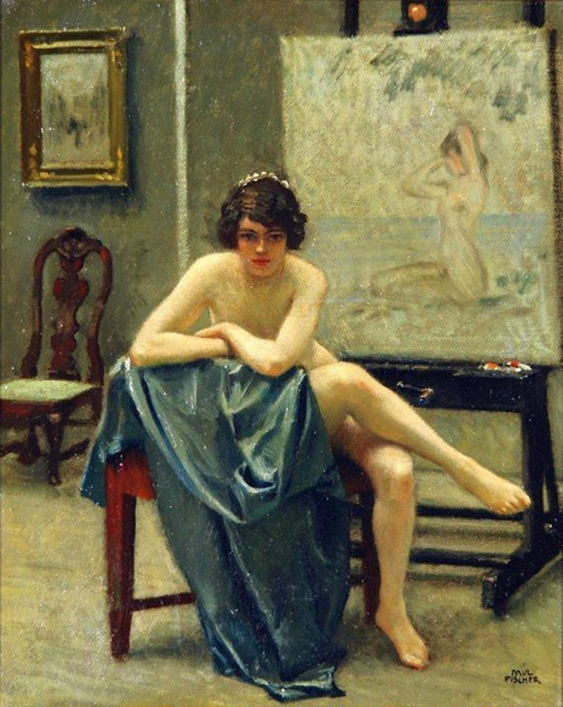 Paul Gustav Fischer - Seated Model in the Artist's Studio.jpg
