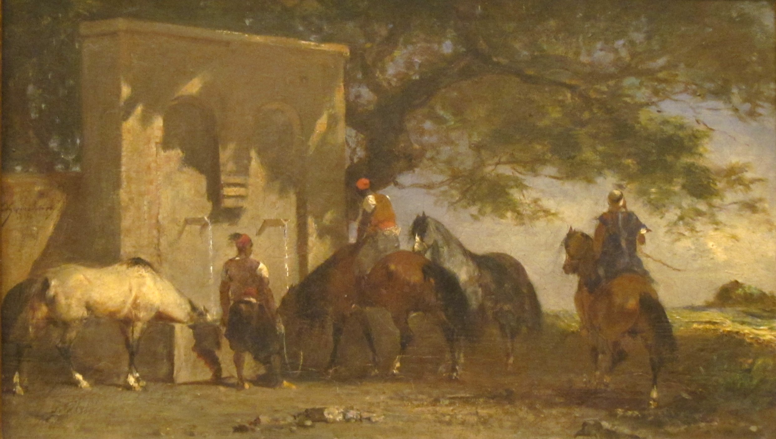 Arabs Watering their Horses, oil on canvas painting by Eugène Fromentin, c. 1850 (?), San Diego Museum of Art / From Wikimedia Commons