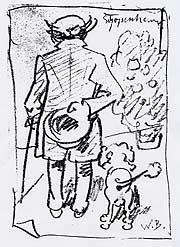 Arthur Schopenhauer caricatured by Wilhelm Busch