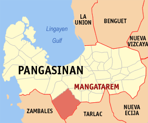 Map of Pangasinan showing the location of Mang...