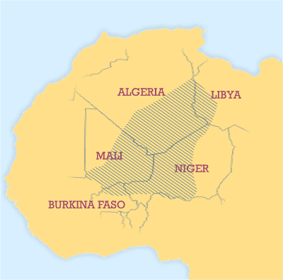 Areas where significant numbers of Tuaregs live.