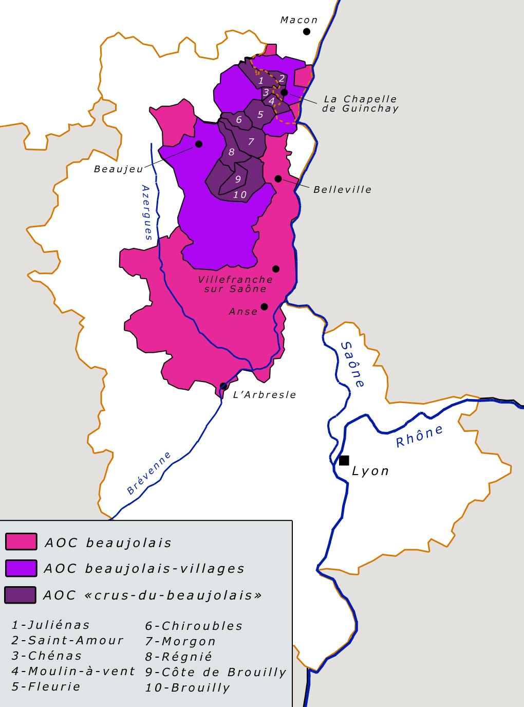 Mapa Beaujolais (Wikipedia)