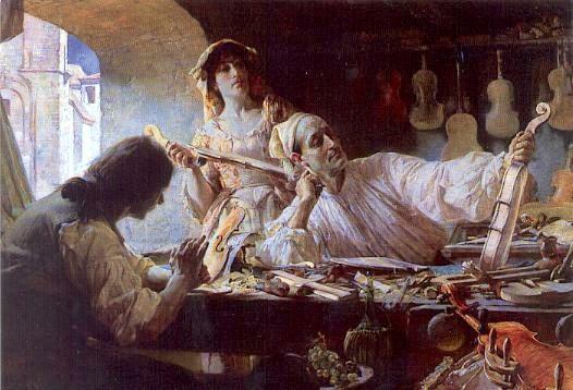 Edgar Bundy: Antonio Stradivari at work in his...
