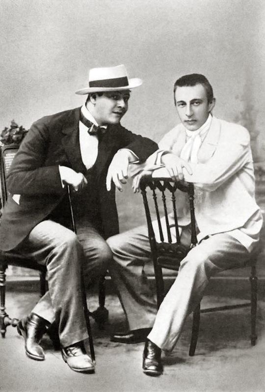 Feodor Chaliapin with Sergei Rachmaninoff, c. 1890