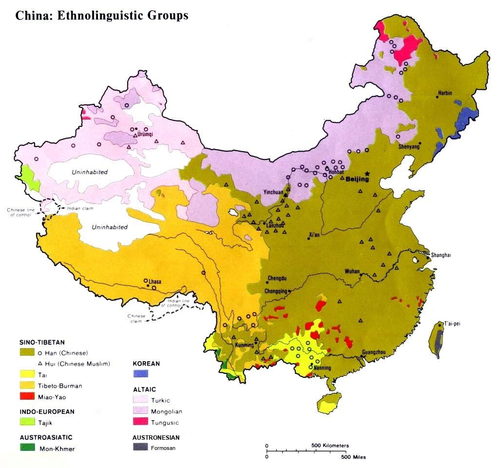 English: Ethnolinguistic groups of China.