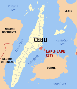 English: Map of Cebu showing the location of L...