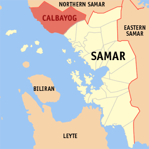 English: Map of Samar showing the location of ...