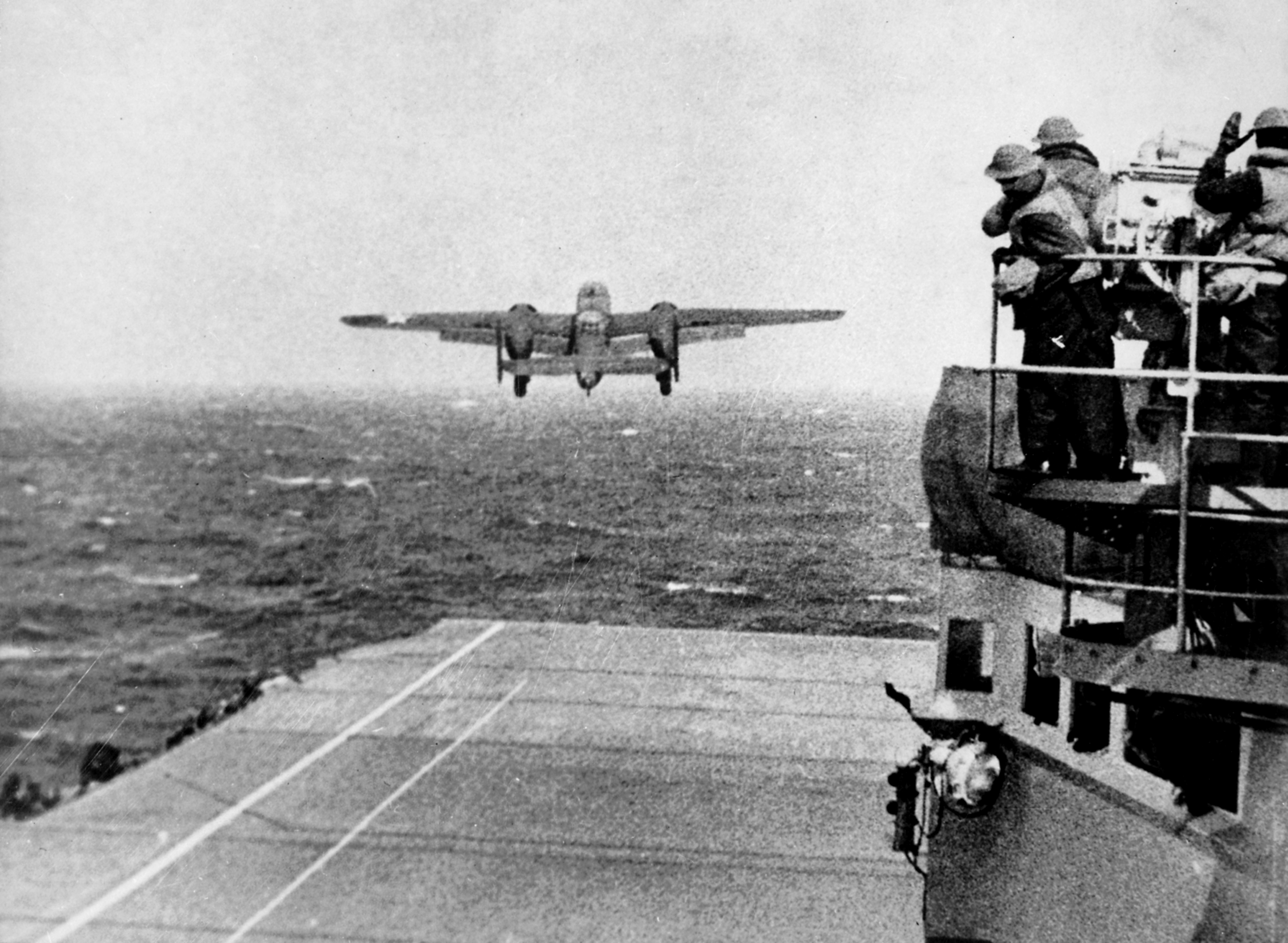 B-25 taking off from the Hornet.  From NARA, ARC Identifier 520603 via Wikipedia.