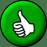 English: A white thumbs-up inside a green circ...