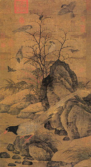 Huang Zhucai, Mountain Magpie, Sparrows and Bramble