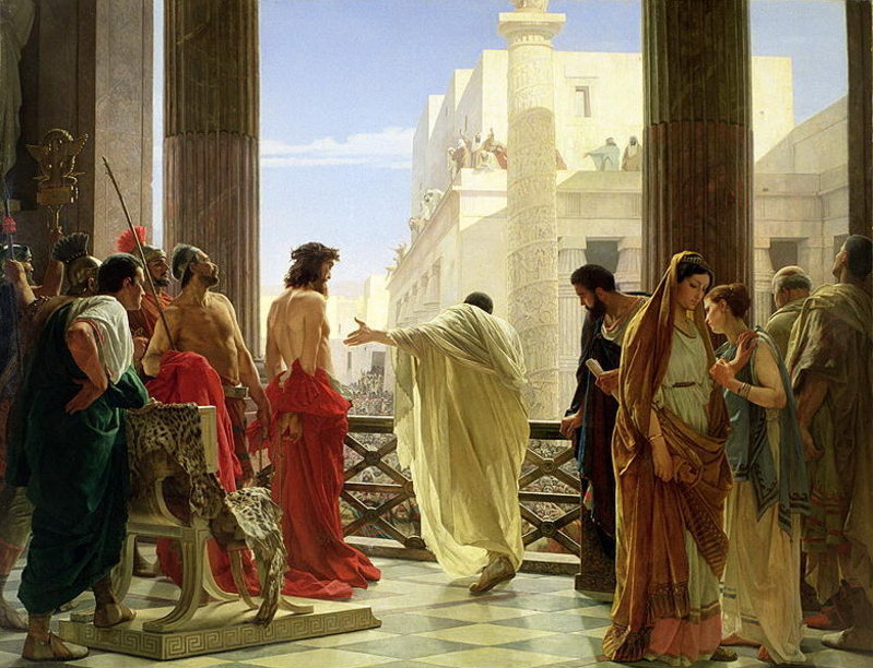 Ecce Homo, after Pilate pronounced a not guilty verdict, presenting Jesus to the people, a painting by Antonio Ciseri available from wikipedia