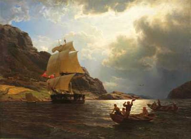 File:Hans Gude--Hjemvendende hvalfangerskip i en norsk havn--1869.jpg