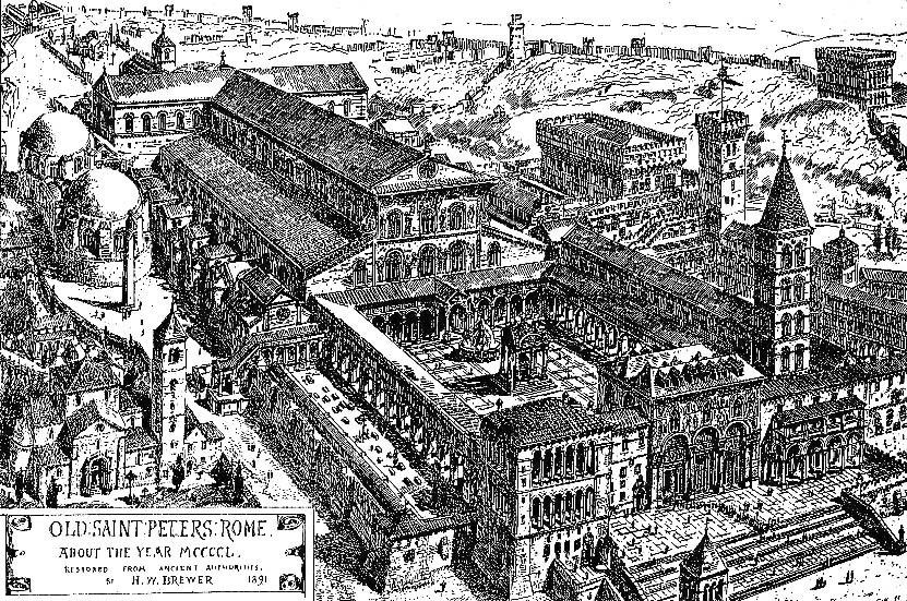 Ricostruzione grafica dell'antica basilica di San Pietro