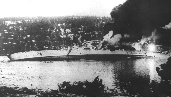 File:German cruiser Blücher sinking.jpg
