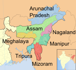 Map | Seven Sister States of northeastern India | Tribal