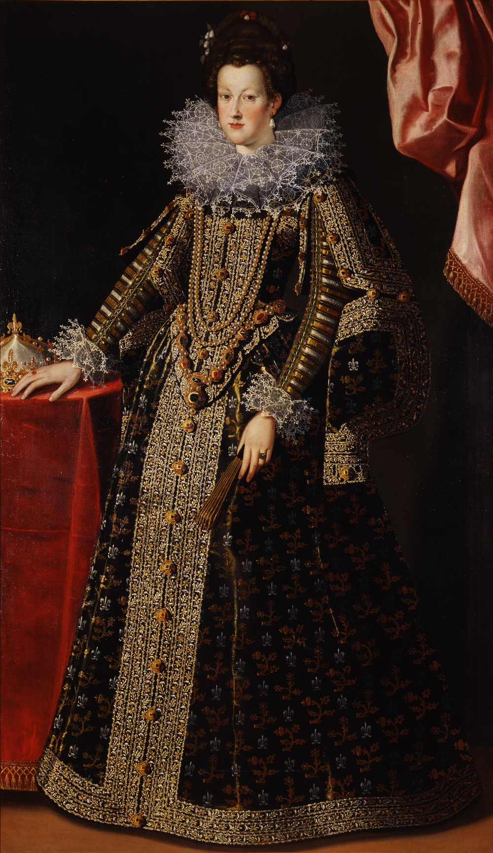 Maria de%27 Medici%2C Queen of France in circa 1600 by an unkown artist 17th Century Fashion