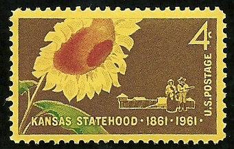 Four-cent U.S. Postal Service stamp issued in 1961, honoring the centennial of Kansas's statehood with the state flower, the sunflower.