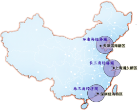The 3 Main Economic Rims of China with BER being northmost.