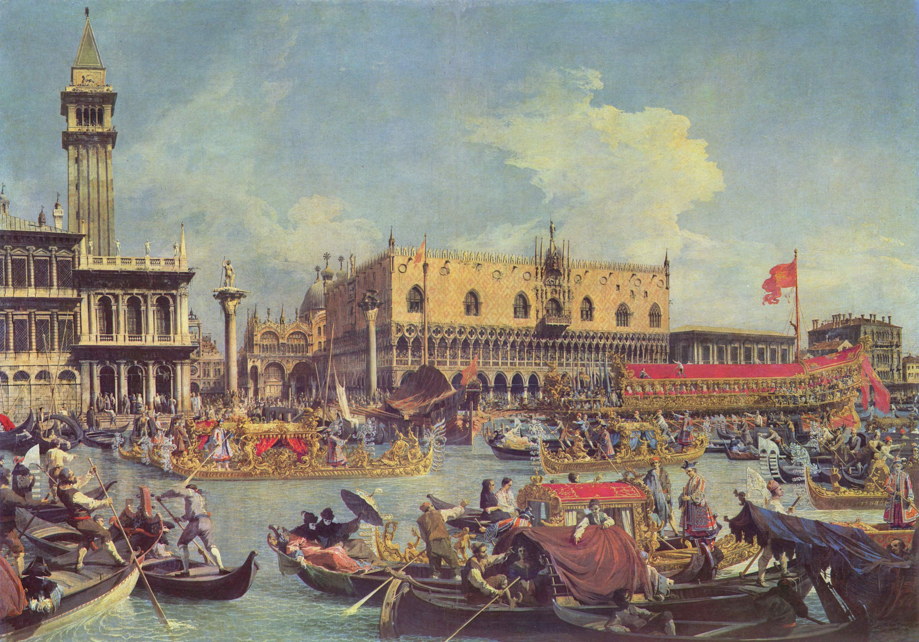 Betrothal of the Doge to the sea on the canvas by Canaletto.