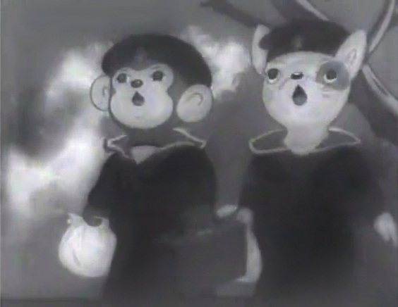 early Japanese anime movie showing two drawn animals