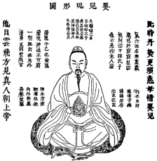 Picture of  a painting of a Chinese feller meditating. Hard.
