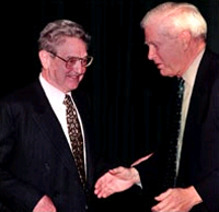 George Soros (left) and James Billington.