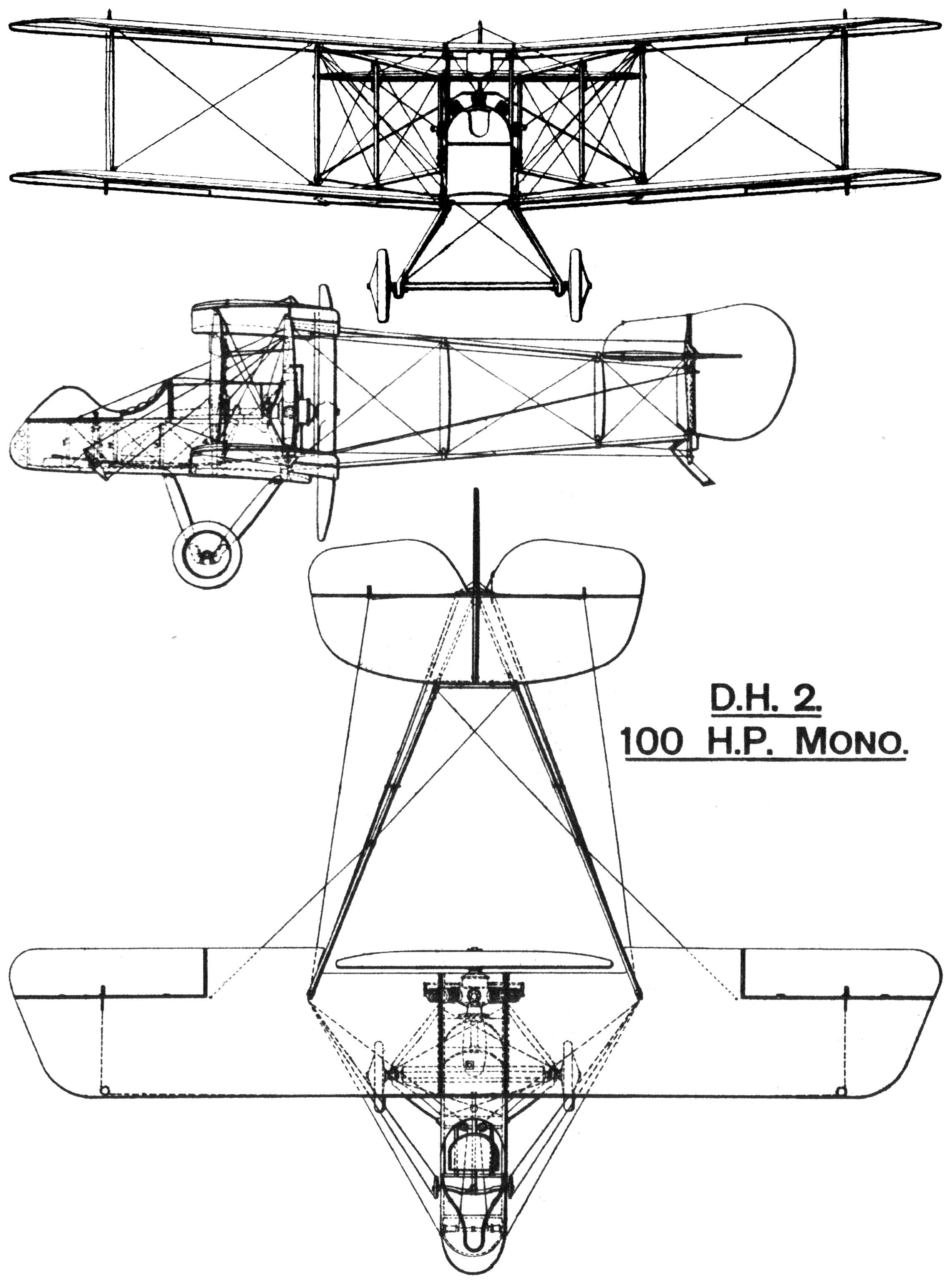 Fil Airco D H 2 British First World War Single Seat
