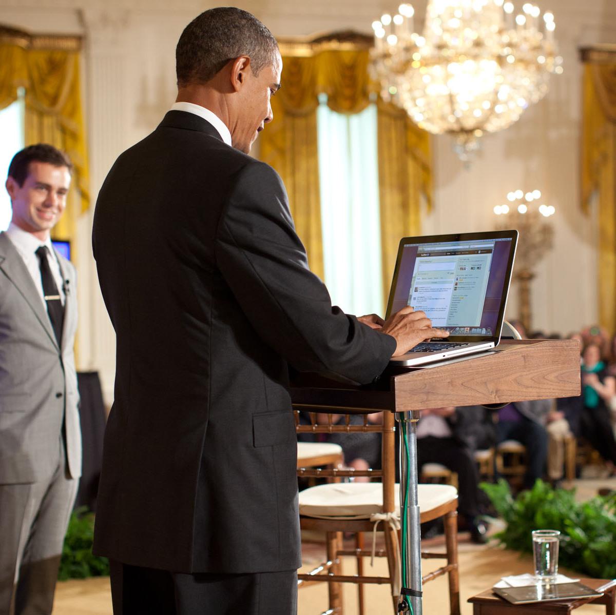 President Obama tweeting