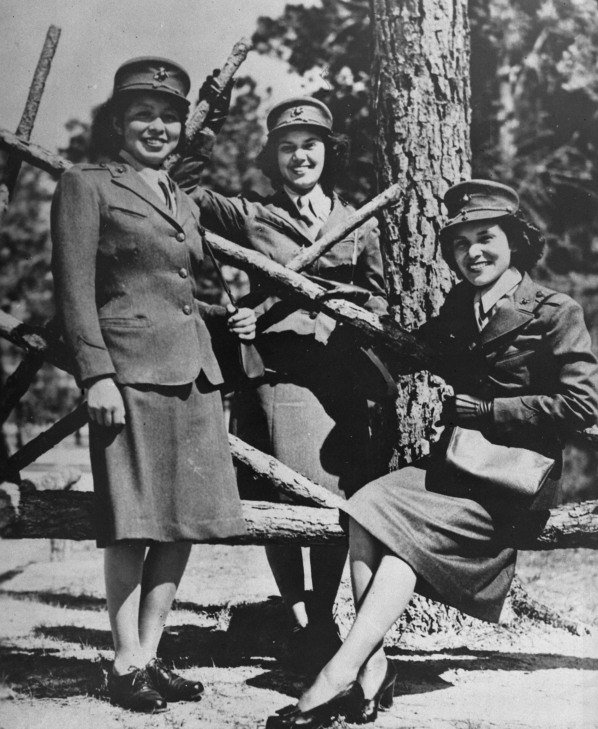 File Photograph Of Three Marine Corps Women Reservists