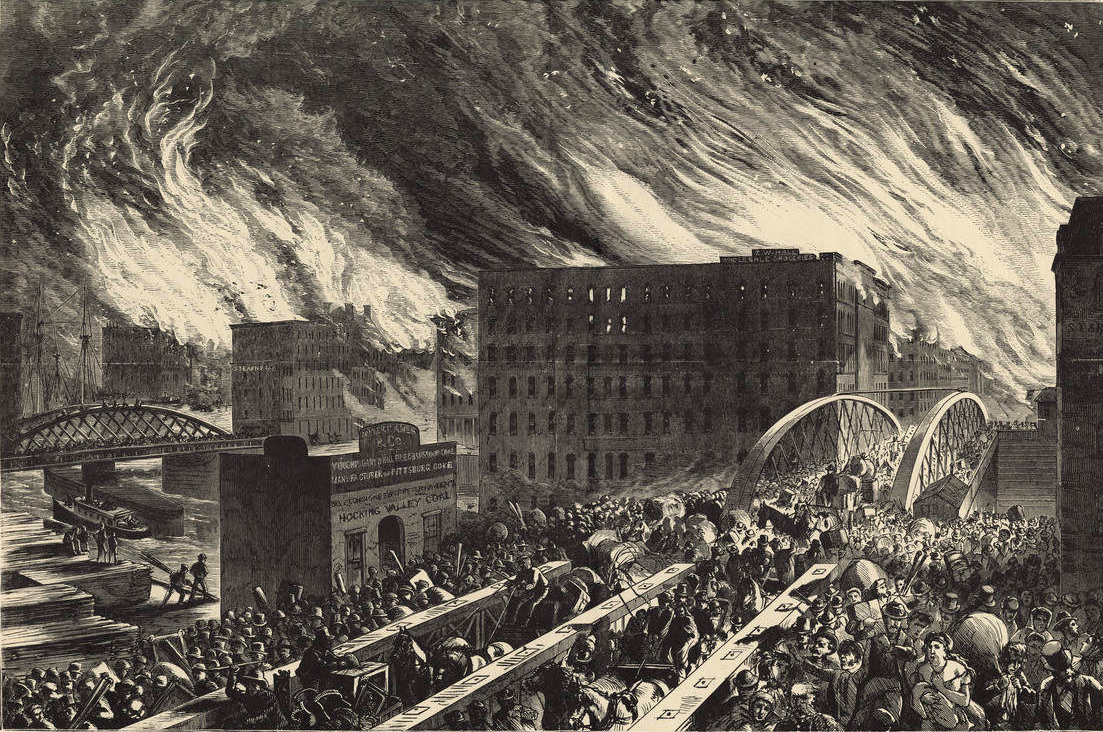 An artist's rendering of the Great Chicago Fire of 1871.