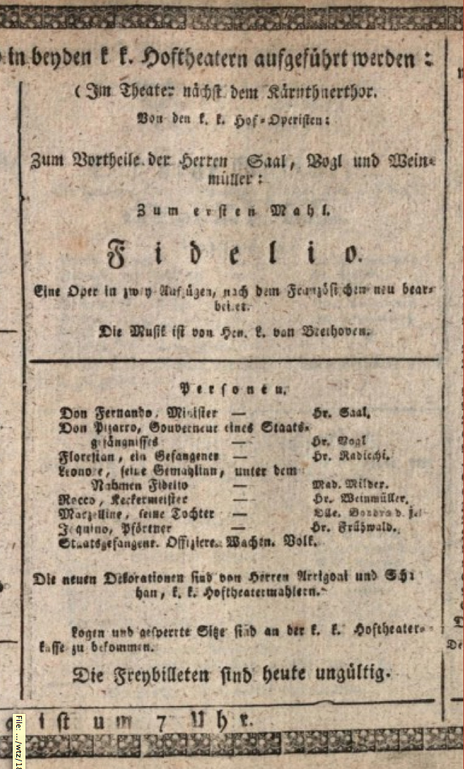 Playbill from the premiere of the 1814 version of Fidelio