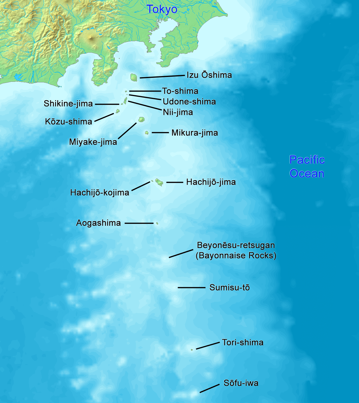 Map of the Izu Islands, of which is the centre of the Devils Sea (aka the Formosa Sea).