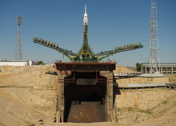 S250borSoyuz TMA05M rocket at the launch pad at the