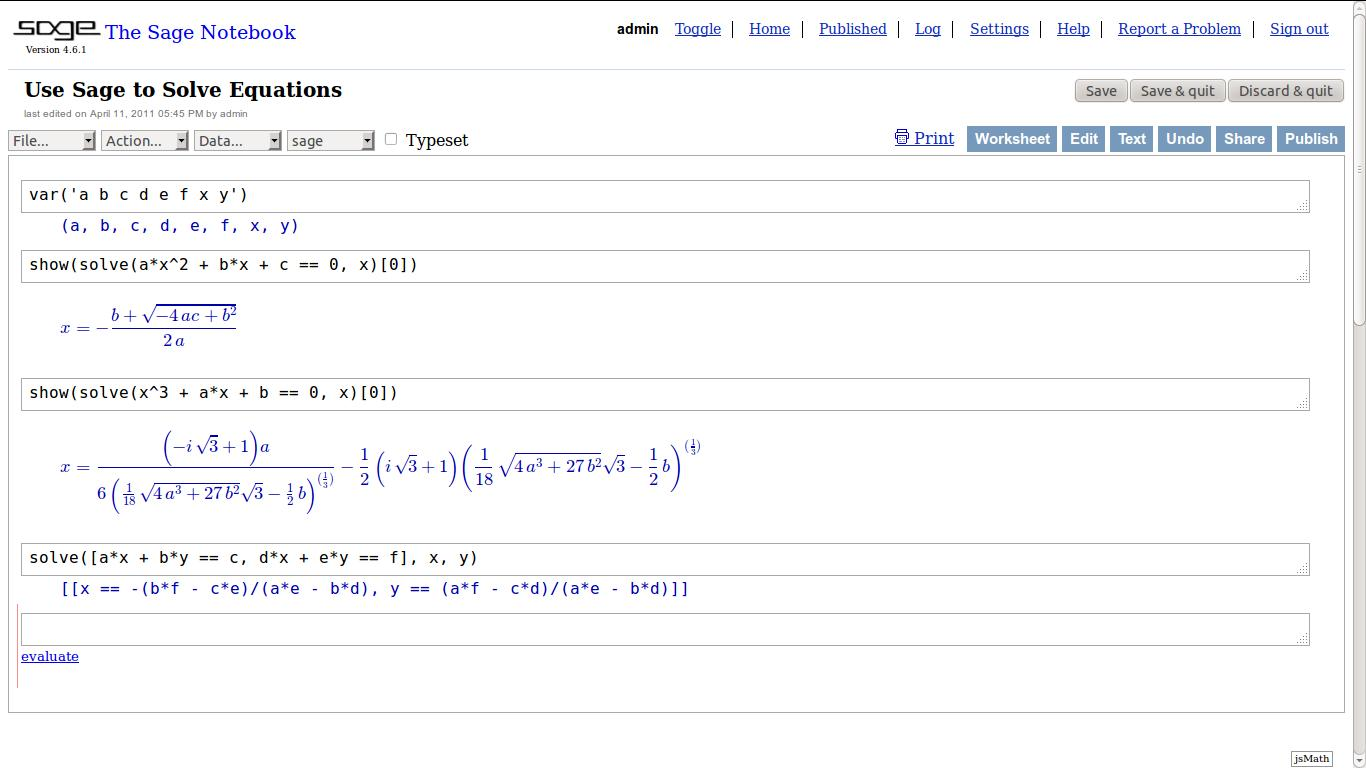 File Sage Equation Solve